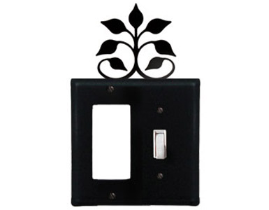 Leaf Fan Wrought Iron Switch Plate / 1 Rocker - 1 Toggle