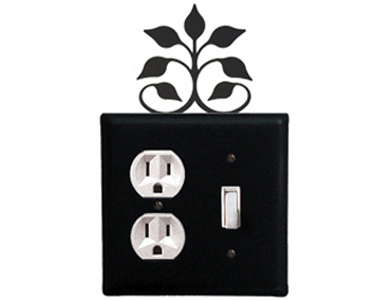 Leaf Fan Wrought Iron Switch Plate / 1 Duplex - 1 Toggle