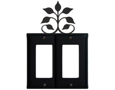 Leaf Fan Wrought Iron Switch Plate / 2 Rocker