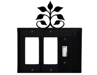 Leaf Fan Wrought Iron Switch Plate / 2 Rocker - 1 Toggle