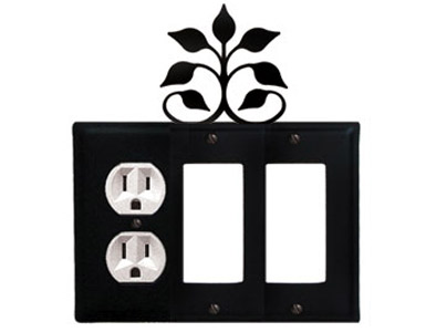 Leaf Fan Wrought Iron Switch Plate / 1 Duplex - 2 Rocker