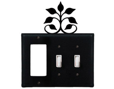 Leaf Fan Wrought Iron Switch Plate / 1 Rocker - 2 Toggle