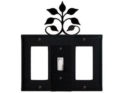 Leaf Fan Wrought Iron Switch Plate / 1 Rocker - 1 Toggle - 1 Rocker