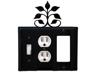 Leaf Fan Wrought Iron Switch Plate / 1 Toggle - 1 Duplex - 1 Rocker