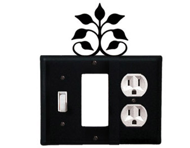 Leaf Fan Wrought Iron Switch Plate / 1 Toggle - 1 Rocker - 1 Duplex