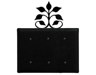 Leaf Fan Wrought Iron Switch Plate / 3 Plain