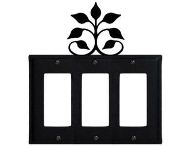 Leaf Fan Wrought Iron Switch Plate / 3 Rocker