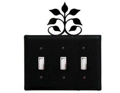 Leaf Fan Wrought Iron Switch Plate / 3 Toggle