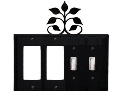 Leaf Fan Wrought Iron Switch Plate / 2 Rocker - 2 Toggle