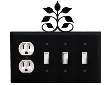 Leaf Fan Wrought Iron Switch Plate / 1 Duplex - 3 Toggle