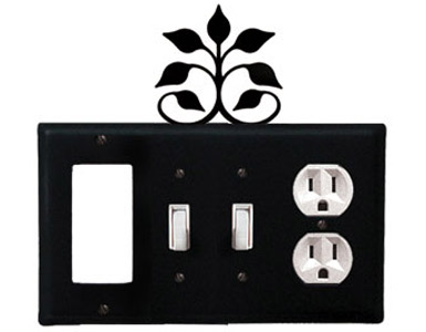 Leaf Fan Wrought Iron Switch Plate / 1 Rocker - 2 Toggle - 1 Duplex