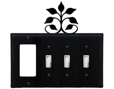 Leaf Fan Wrought Iron Switch Plate / 1 Rocker - 3 Toggle