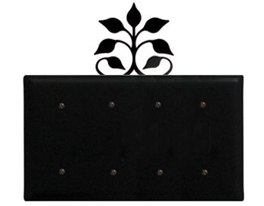 Leaf Fan Wrought Iron Switch Plate / 4 Plain