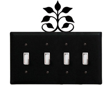 Leaf Fan Wrought Iron Switch Plate / 4 Toggle