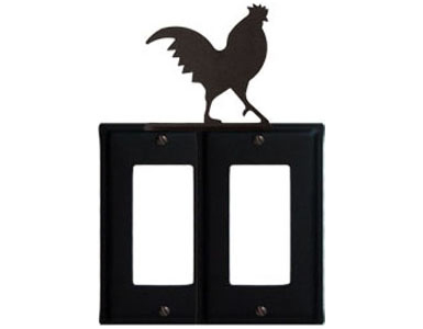 Rooster Wrought Iron Switch Plate / 2 Rocker