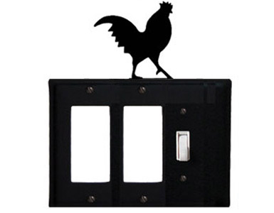 Rooster Wrought Iron Switch Plate / 2 Rocker - 1 Toggle