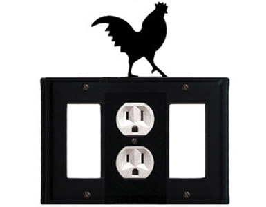 Rooster Wrought Iron Switch Plate / 1 Rocker - 1 Duplex - 1 Rocker