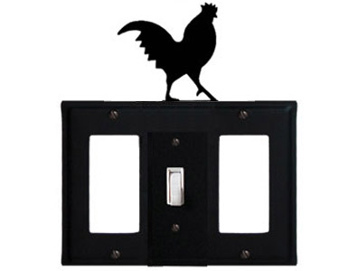 Rooster Wrought Iron Switch Plate / 1 Rocker - 1 Toggle - 1 Rocker