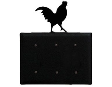 Rooster Wrought Iron Switch Plate / 3 Plain