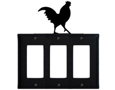 Rooster Wrought Iron Switch Plate / 3 Rocker
