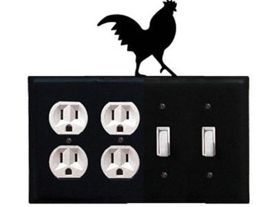 Rooster Wrought Iron Switch Plate / 2 Duplex - 2 Toggle