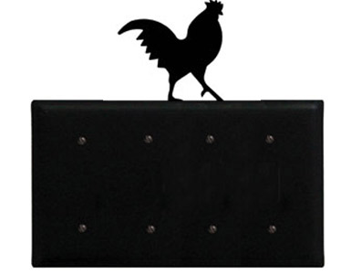 Rooster Wrought Iron Switch Plate / 4 Plain
