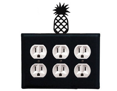 Pineapple Wrought Iron Outlet Cover / 3 Duplex