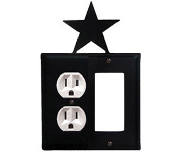 Star Wrought Iron Switch Plate / 1 Duplex - 1 Rocker