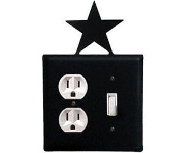 Star Wrought Iron Switch Plate / 1 Duplex - 1 Toggle