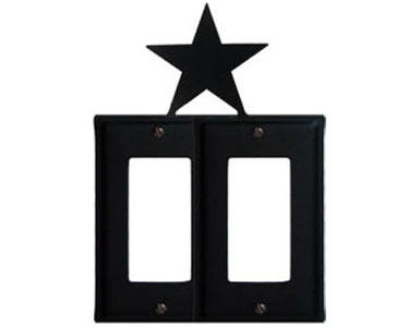 Star Wrought Iron Switch Plate / 2 Rocker