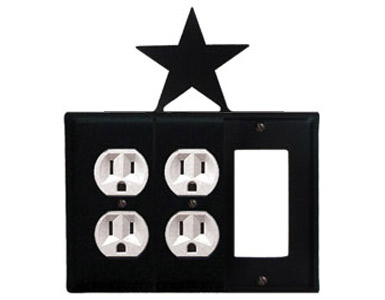 Star Wrought Iron Switch Plate / 2 Duplex - 1 Rocker