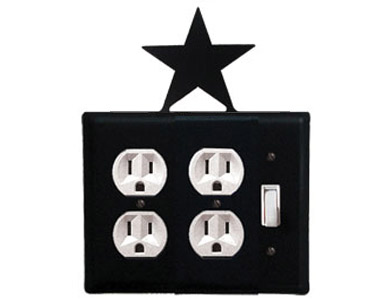 Star Wrought Iron Switch Plate / 2 Duplex - 1 Toggle