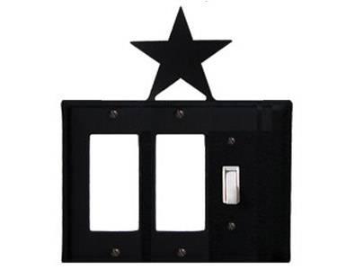 Star Wrought Iron Switch Plate / 2 Rocker - 1 Toggle