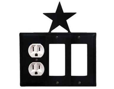 Star Wrought Iron Switch Plate / 1 Duplex - 2 Rocker