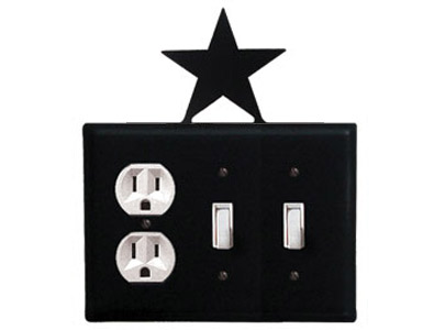 Star Wrought Iron Switch Plate / 1 Duplex - 2 Toggle