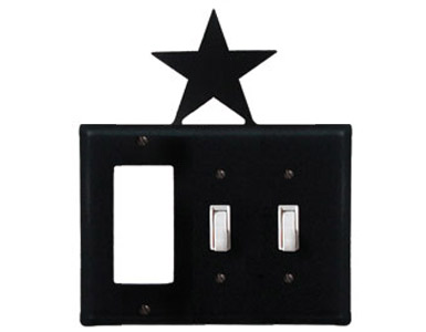 Star Wrought Iron Switch Plate / 1 Rocker - 2 Toggle