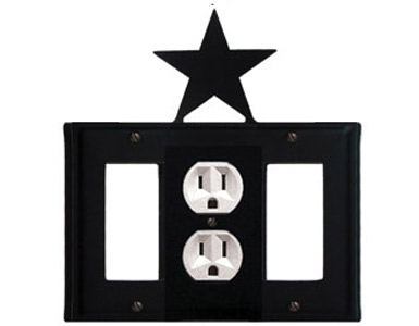 Star Wrought Iron Switch Plate / 1 Rocker - 1 Duplex - 1 Rocker