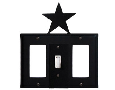 Star Wrought Iron Switch Plate / 1 Rocker - 1 Toggle - 1 Rocker