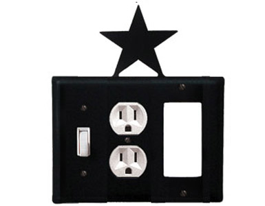 Star Wrought Iron Switch Plate / 1 Toggle - 1 Duplex - 1 Rocker
