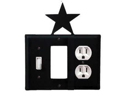 Star Wrought Iron Switch Plate / 1 Toggle - 1 Rocker - 1 Duplex