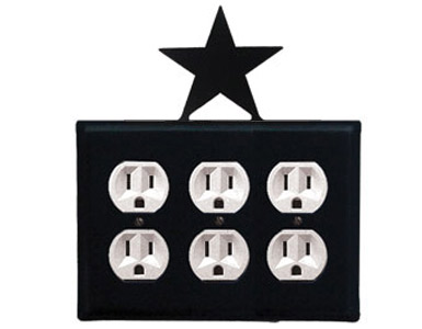 Star Wrought Iron Outlet Cover / 3 Duplex