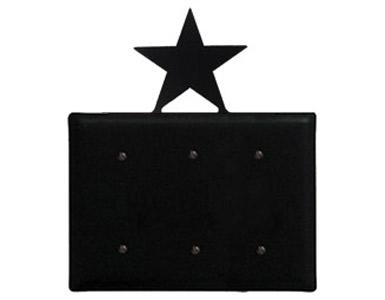 Star Wrought Iron Switch Plate / 3 Plain