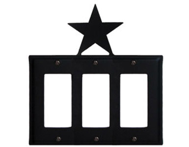 Star Wrought Iron Switch Plate / 3 Rocker