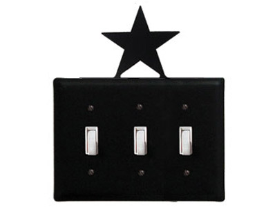 Star Wrought Iron Switch Plate / 3 Toggle