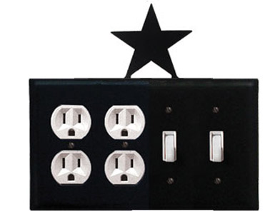 Star Wrought Iron Switch Plate / 2 Duplex - 2 Toggle