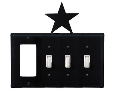 Star Wrought Iron Switch Plate / 1 Rocker - 3 Toggle