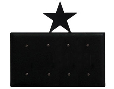 Star Wrought Iron Switch Plate / 4 Plain