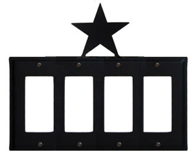 Star Wrought Iron Switch Plate / 4 Rocker