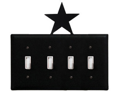 Star Wrought Iron Switch Plate / 4 Toggle