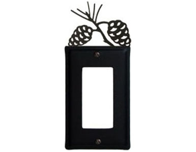 Pine Cone Wrought Iron Switch Plate / 1 Rocker